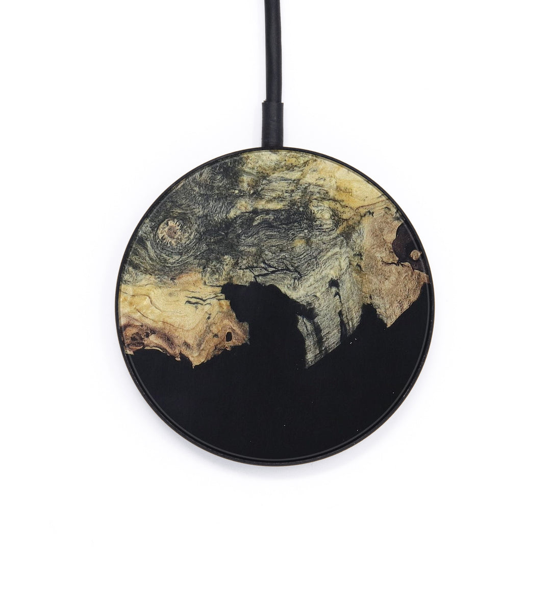 Circle Wood+Resin Wireless Charger - Mani (Pure Black, 393276)