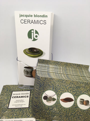 promo material for packaging jacquie blondin ceramics