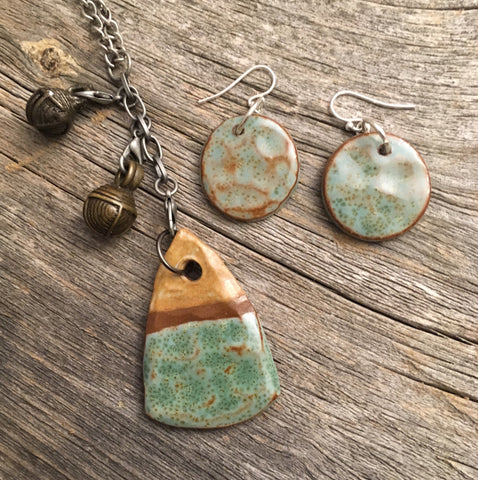 Photographing pendant necklace and earrings jacquie blondin ceramics