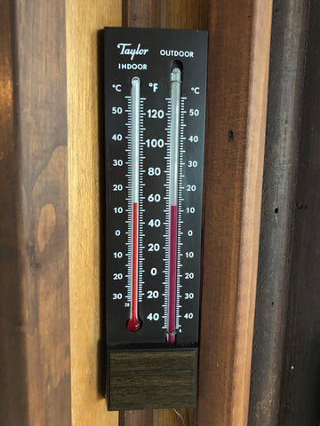 Temperature indoors and outside