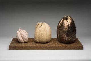 Alchemy Award winning sculpture showing ceramic process with sculpted forms on aged wood panels