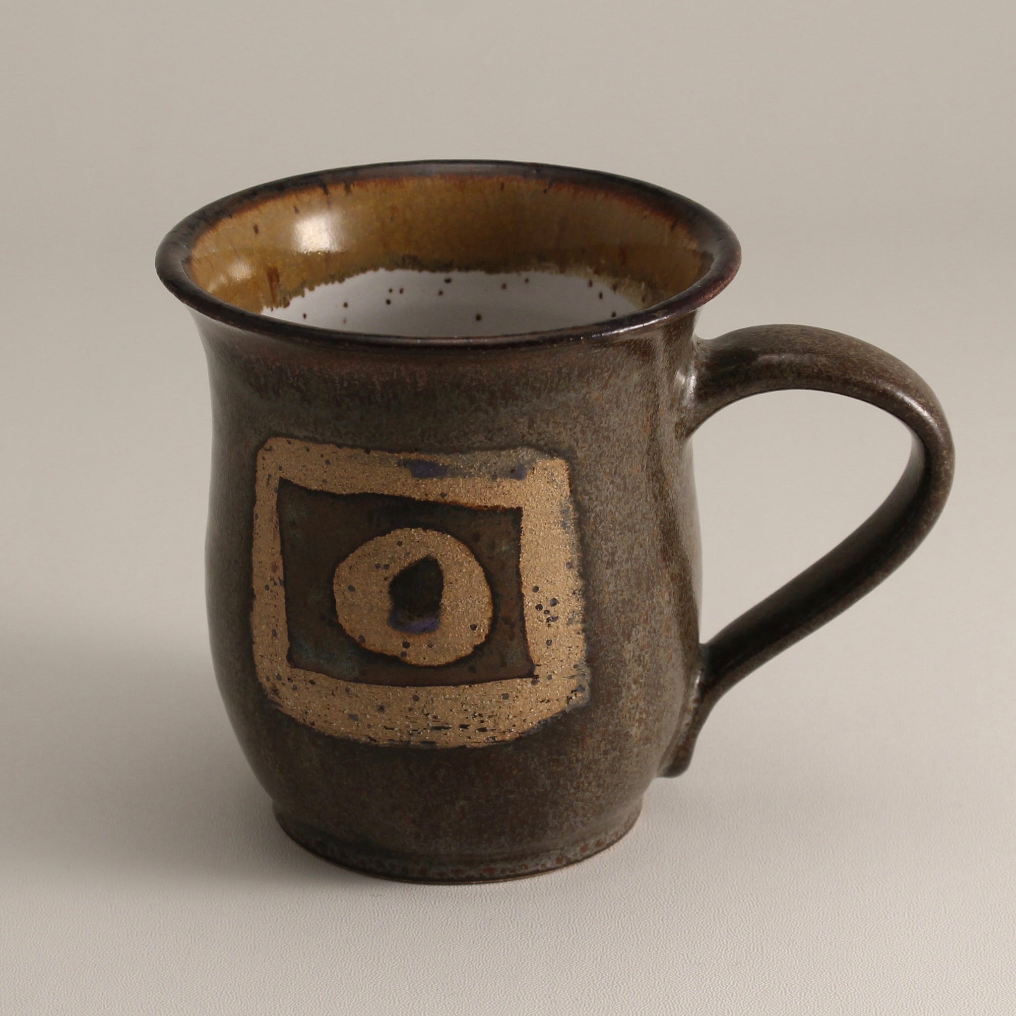 Satin Brown Geometric Mug