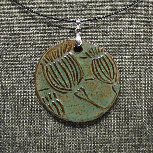 Poppy Pod Pendant Necklace in Robin's Egg - Statement Piece!