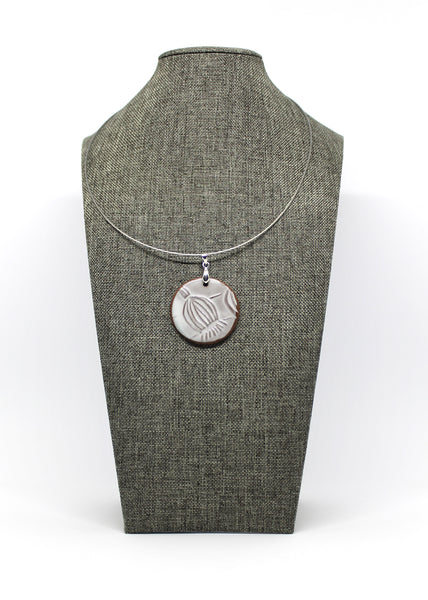 Poppy Pod Pendant Necklace in Smooth White