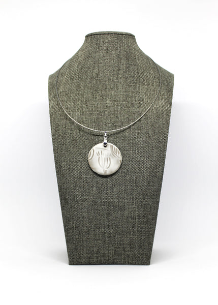 Poppy Pod Pendant Necklace in Buttery Smooth White
