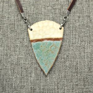 Hammered Pendant in Robin's Egg and Buttery Cream with Terra Cotta Strip on a Leather Strap Necklace