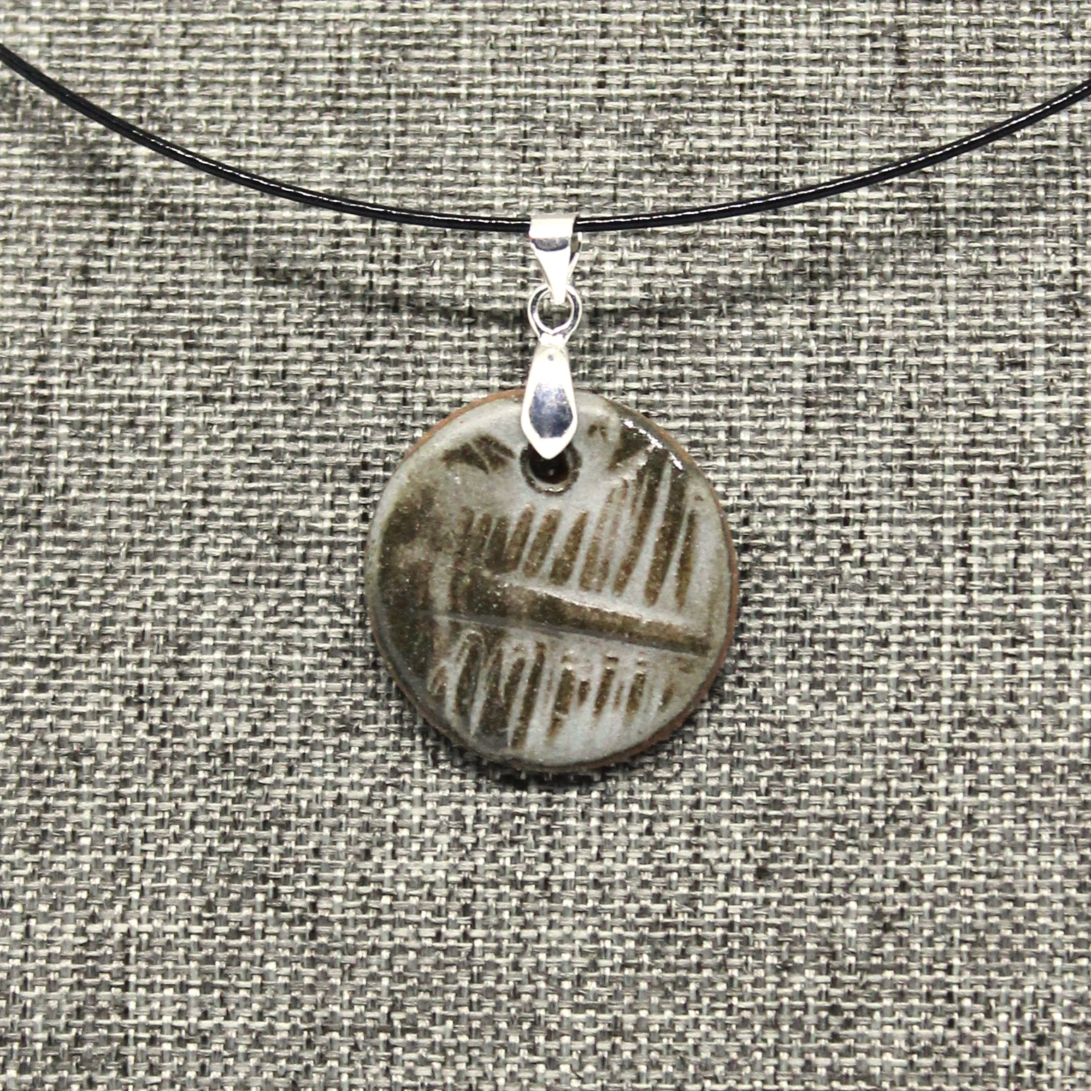 Petit Pattern Pendant Necklace in Frost Grey