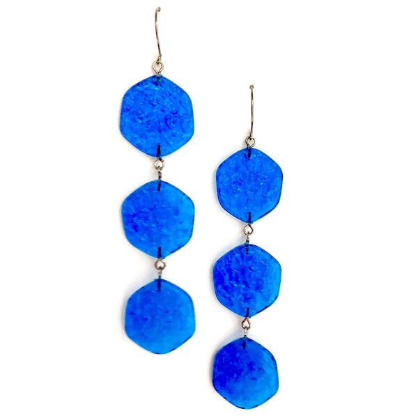bright blue earrings