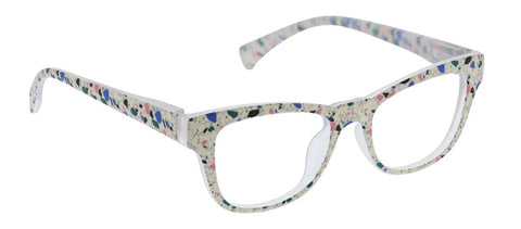 Terrazzo Readers Glasses Light Blocking - Cream Paint Spattered