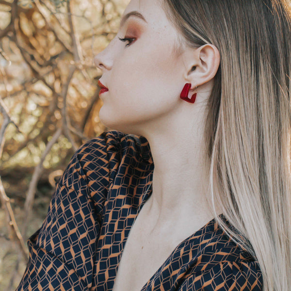 leetie red minimalist hoops