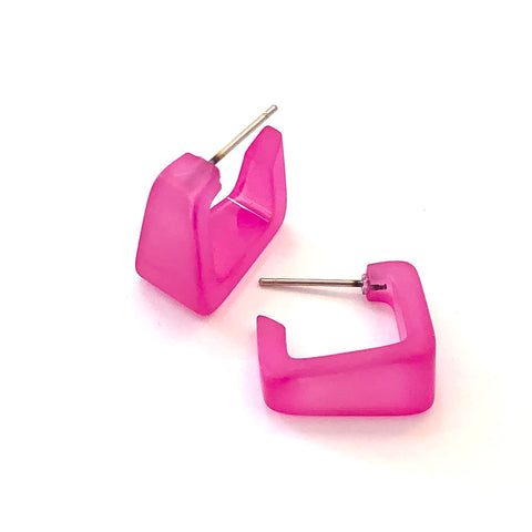 Hot Pink Frosted Square Bermuda Hoop Earrings
