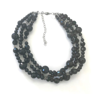 Black Facets & Glitter Lucite Beaded Multi Strand Morgan Necklace