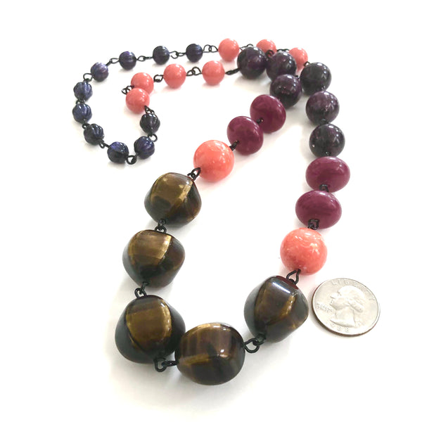 Brown Moonglow & Plum Carmen Necklace