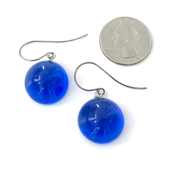 Capri Blue Retro Domed Button Drop Earrings