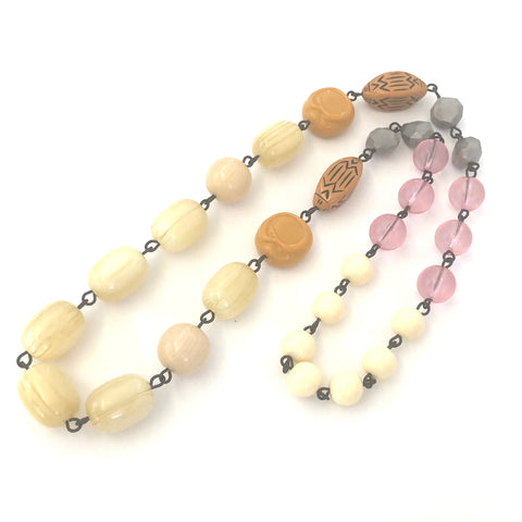 Golds & Cream Rosary Chain Carmen Necklace