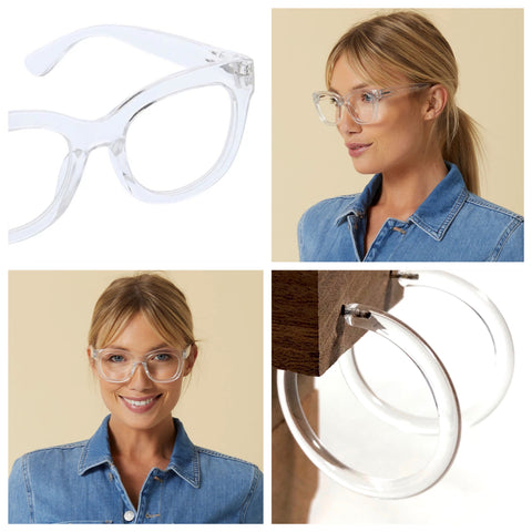 Center Stage Readers Glasses Light Blocking - Clear