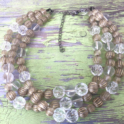 Gold Washed Clear Fluted Morgan Necklace