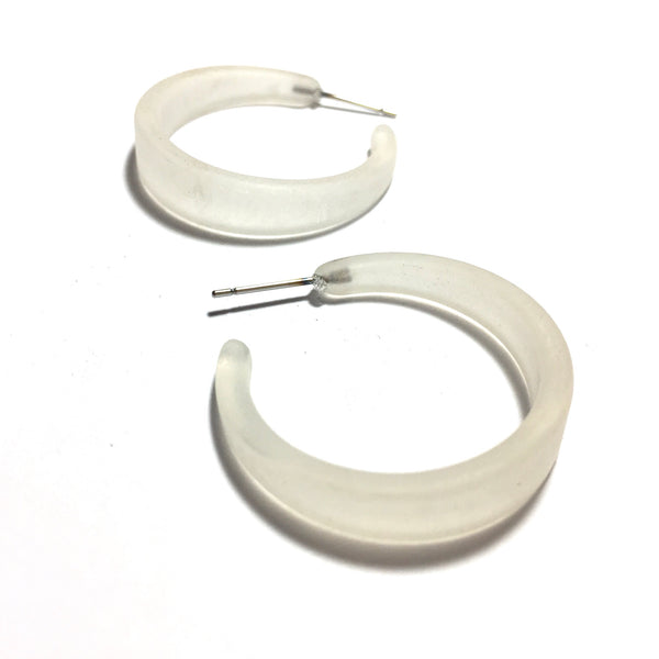 clear frosted hoop earrings