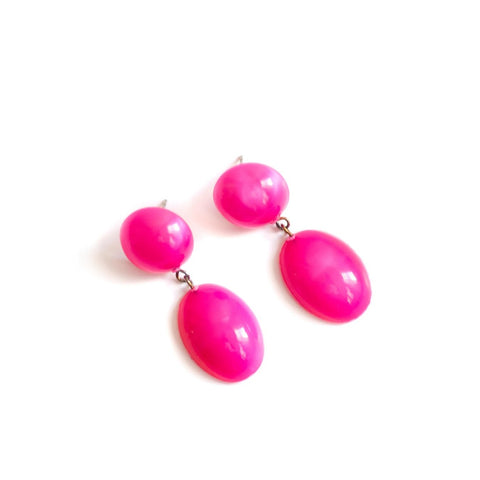 hot pink jelly bean earrings