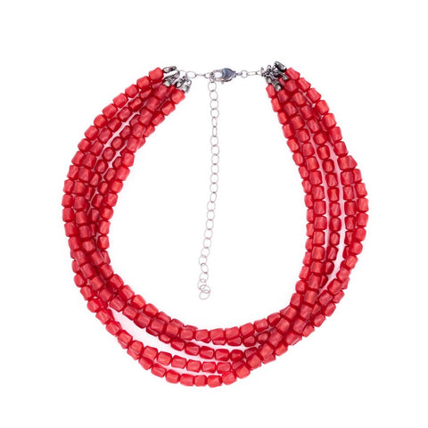 red moonglow beaded necklace