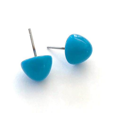 Turquoise Blue Gumdrop Stud Earrings