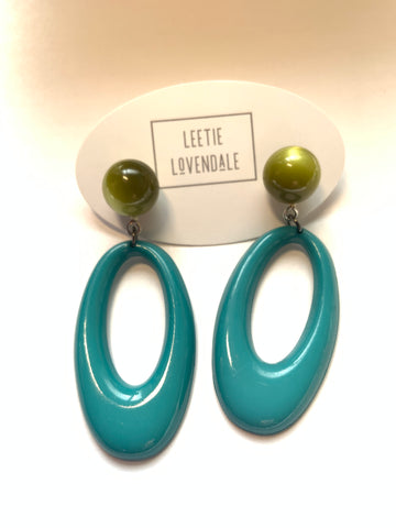 Turquoise and Olive Moonglow Oval Joanna Earrings
