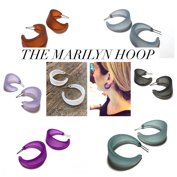 Denim Blue Frosted Small Marilyn Hoop Earrings