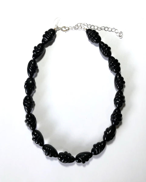 Black Lucite Twist Beaded Marco Necklace