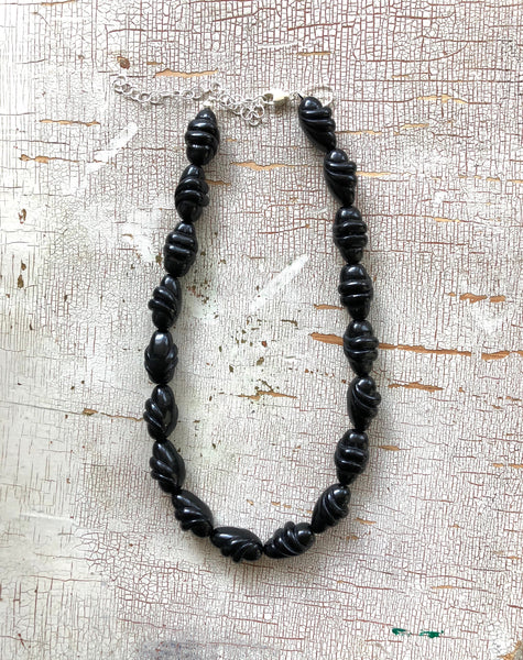 Jet Black Twist Beaded Necklace | Mini Marco | Vintage Lucite Beaded Chunky Statement Necklace