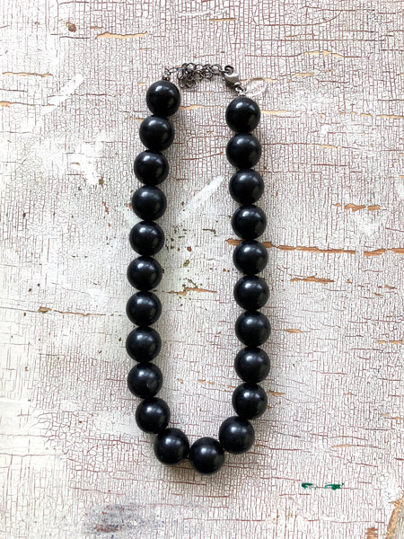 Black Beaded Marco Necklace | Vintage Lucite Beaded Chunky Statement Necklace