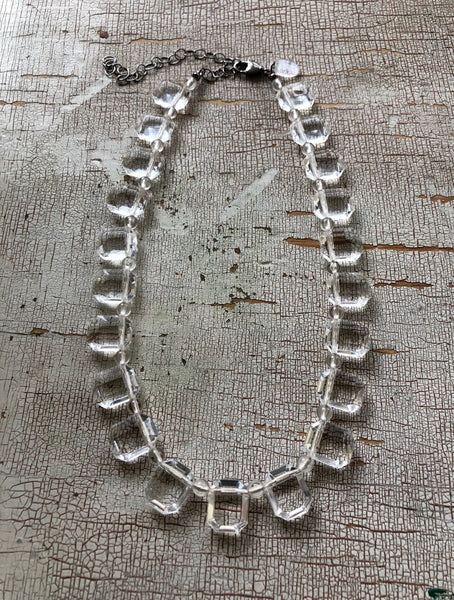 Crystal Clear Emerald Cut Beaded Vintage Lucite Marco Necklace