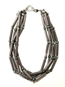 Grey Tube Beaded Statement Necklace | Vintage Frosted Lucite Sylvie Multi Strand Statement Necklace