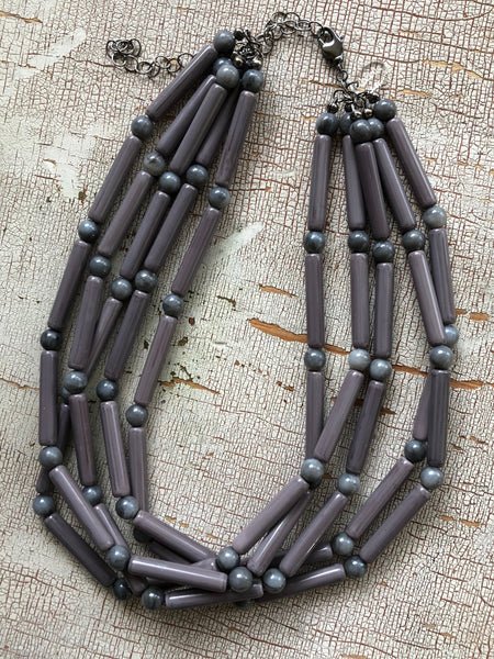 Grey Tube Beaded Sylvie Statement Necklace