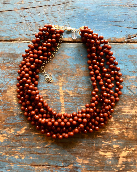 Brown Button Beaded Statement Necklace | Vintage Lucite Sylvie Multi Strand Necklace