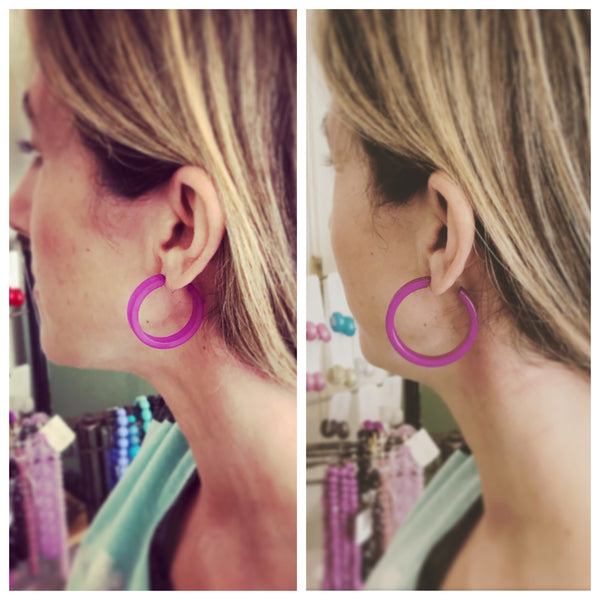 Amethyst Purple Small Classic Hoops | Frosted Vintage Lucite Hoop Earrings