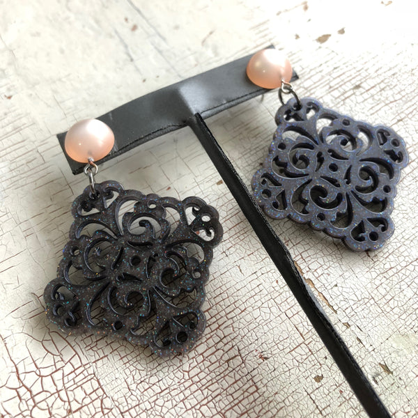 gray sparkle lace earrings