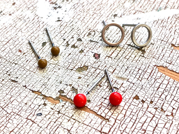 red silver studs