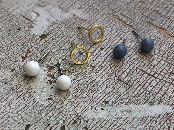 Tiny Geo Studs Earring Set | White Frosted Gold Circles & Slate Blue Stud Earrings