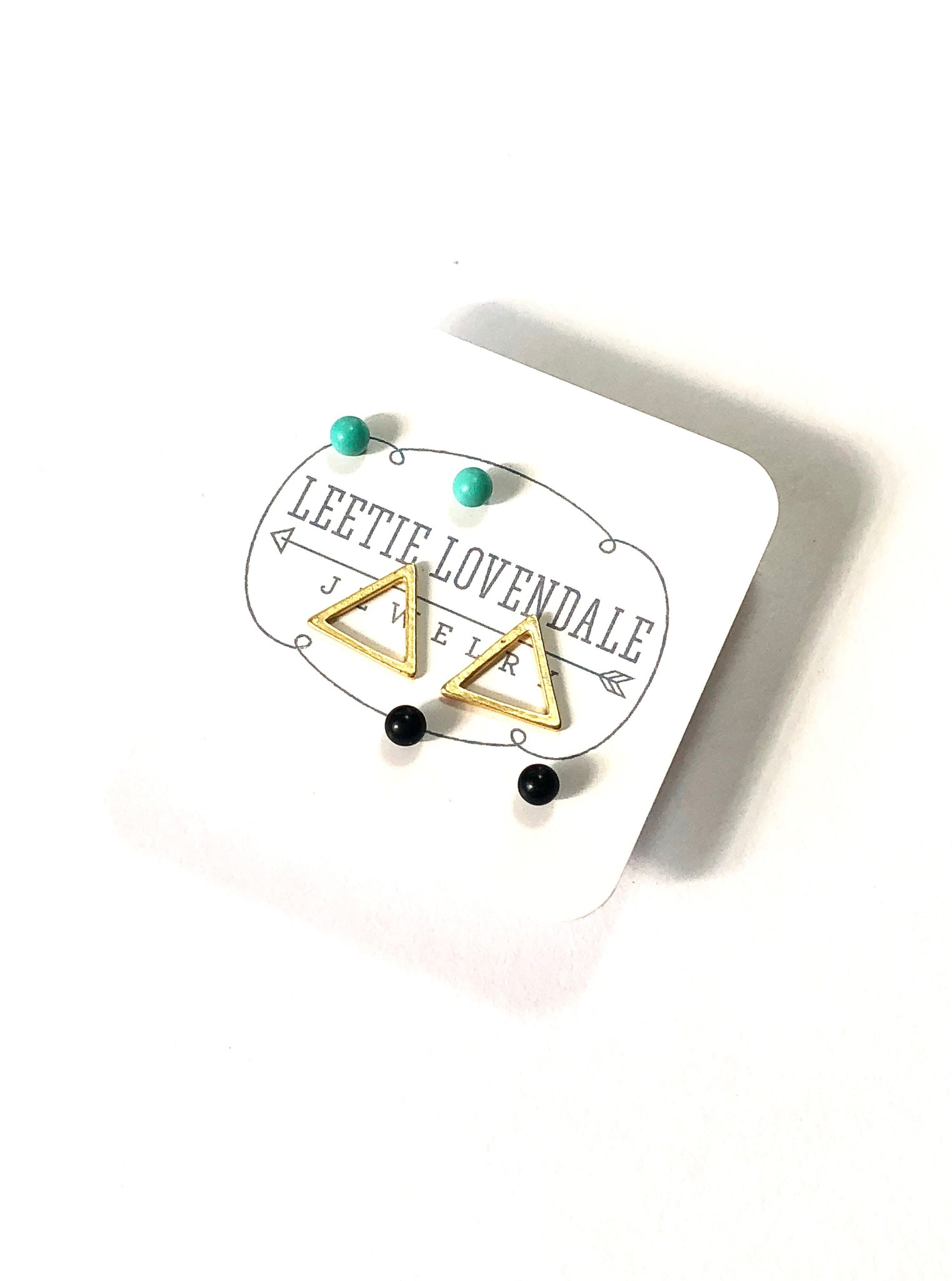 Tiny Geo Studs Earring Set | Mint Jet Black &  Frosted Gold Triangle Stud Earrings