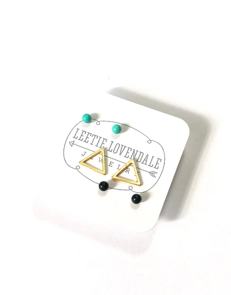 Mint Jet Black & Frosted Gold Triangle Tiny Geo Stud Earrings