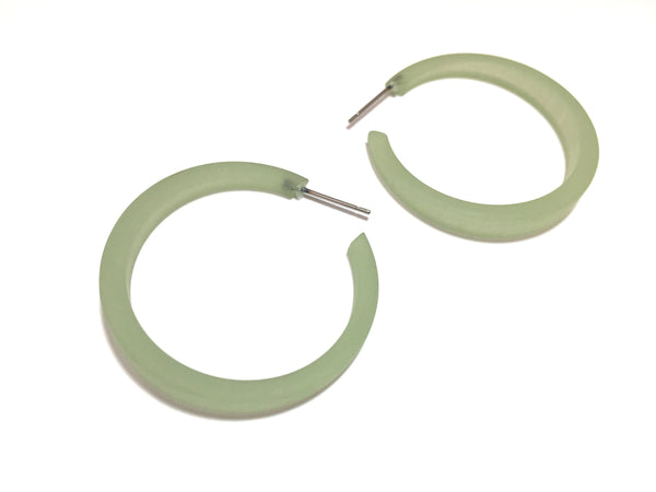 Sage Green Tapered Phoenix Hoop Earrings