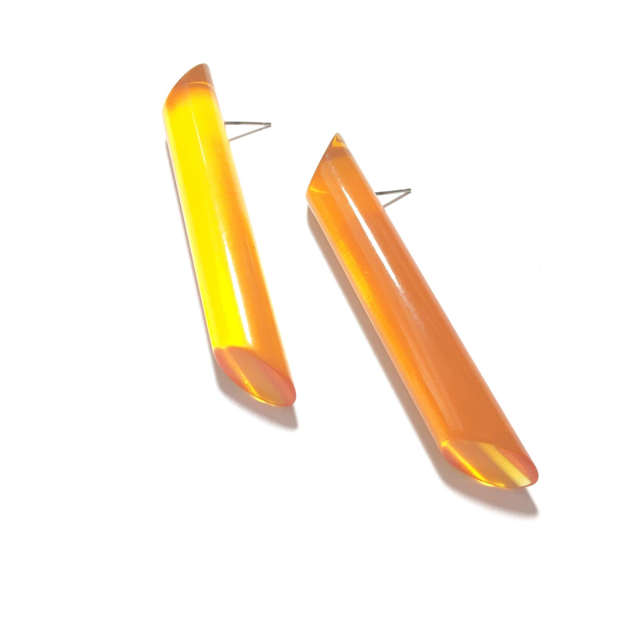 light orange stick stud earrings