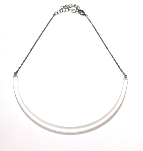 clear frosted bar necklace