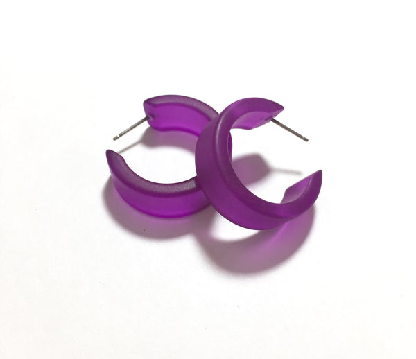 Violet Hoop Earrings | Vintage Frosted Lucite Wide Classic Hoops