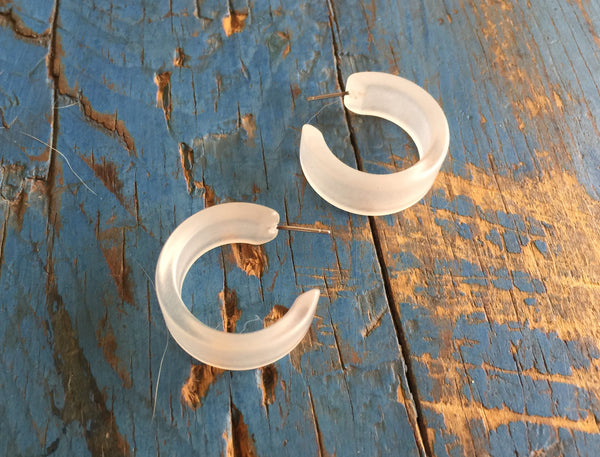 frosted wide hoop earrings