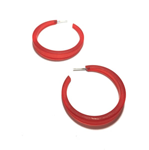 big red hoop earrings