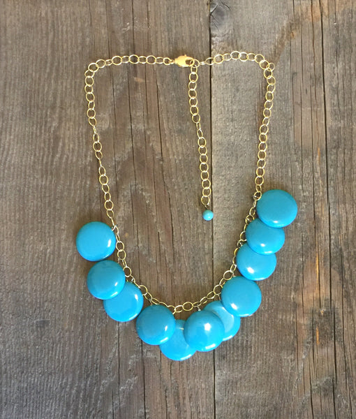 dark aqua statement necklace