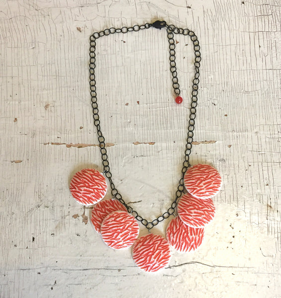 coral lucite necklace