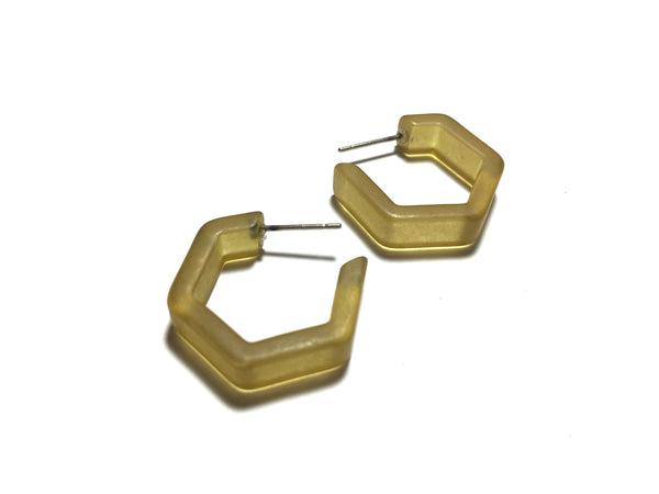 Khaki Army Green Honeycomb Hex Hoop Earrings