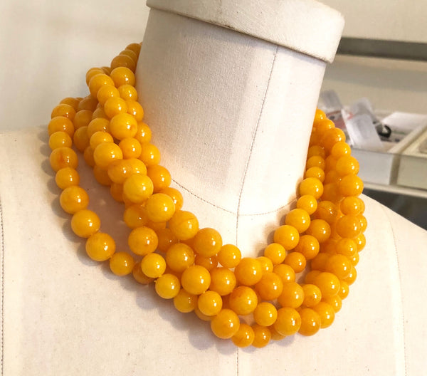 Golden Yellow Beaded Statement Necklace | Vintage Lucite Sylvie Multi Strand Statement Necklace